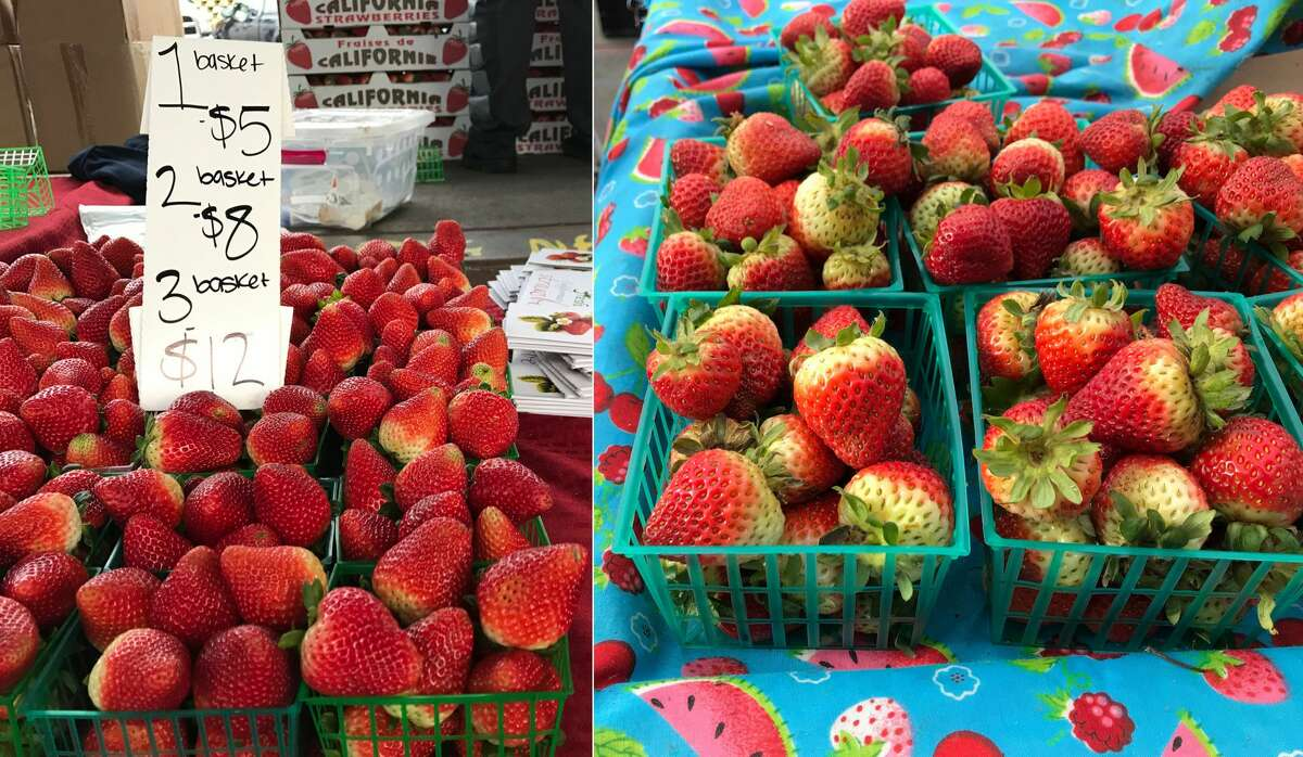 Strawberries Alemany Farmers' Market, left: $5 per basket; $8 for 2 baskets Ferry Plaza Farmers' Market, right: $5 per basket
