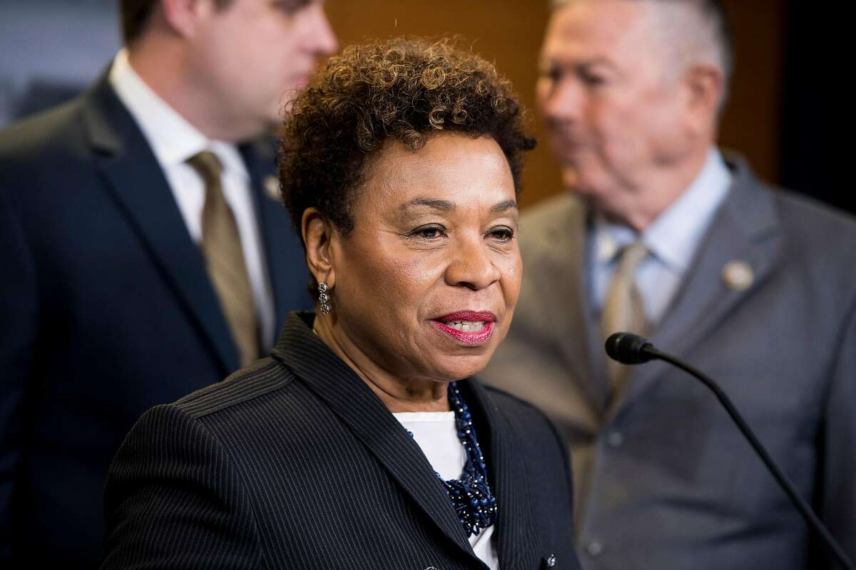 Rep. Barbara Lee, D-Calif., shown here at a 2018 press conference, has drafted legislation to create a national Truth and Reconciliation Commission on racial injustice.