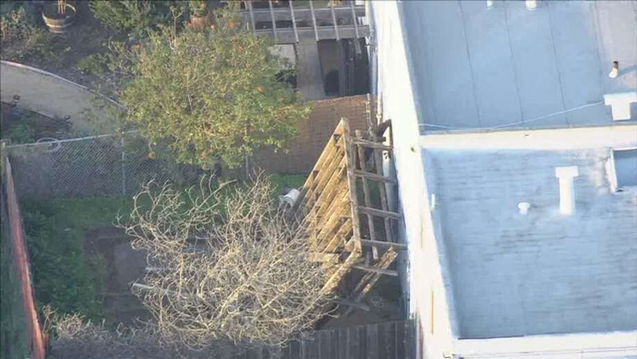 A deck collapse on Monday was photographed by a KTVU helicopter. Photo: KTVU Chopper