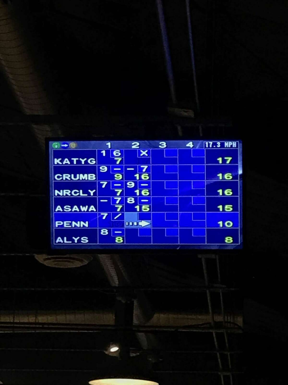 The score screen at Mission Bowling Club, featuring artists names, at the Fraenkel and Zwirner galleries art week party.