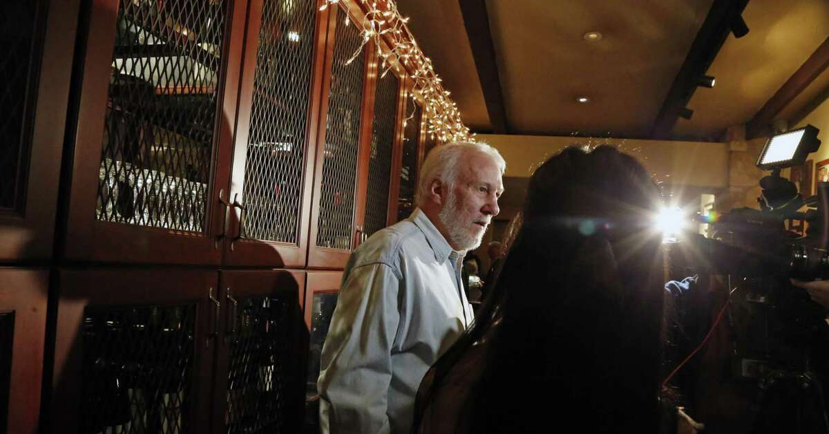 Gregg Popovich address the media on the event. San Antonio Spurs coaches and players serve food and wine tonight at the 8th annual Champions Against Hunger Dinner, a fund-raiser for the San Antonio Food Bank on Monday, January 21, 2019 the Grill at Leon Springs
