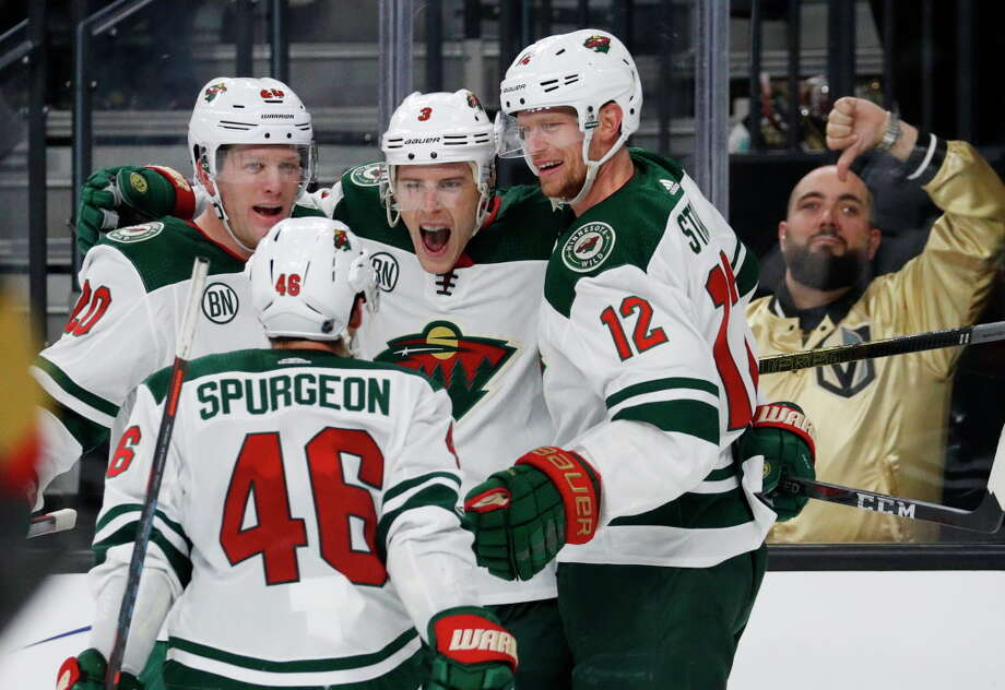 Minnesota Wild players celebrate after Charlie Coyle (3) scored against the Vegas Golden Knights during the third period of an NHL hockey game Monday, Jan. 21, 2019, in Las Vegas. (AP Photo/John Locher) Photo: John Locher / Copyright 2019 The Associated Press. All rights reserved.