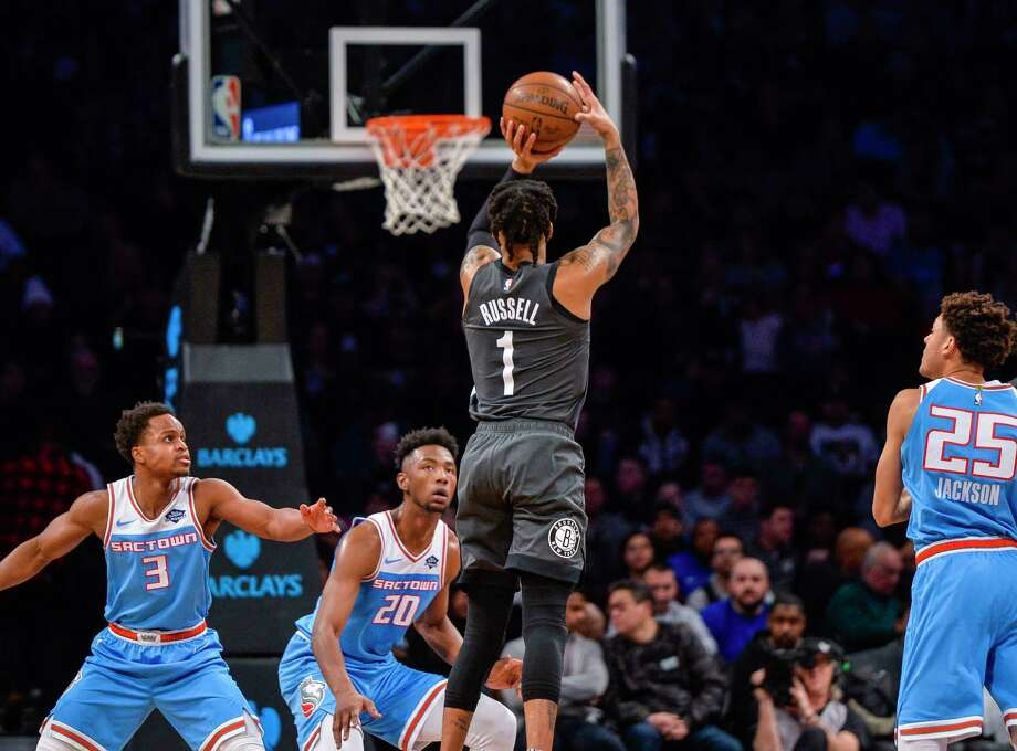 Brooklyn Nets guard D'Angelo Russell (1) shoots a jumper during the first half of an NBA basketball game against the Sacramento Kings, Monday, Jan. 21, 2019, in New York. (AP Photo/Howard Simmons) Photo: Howard Simmons / Copyright 2018 The Associated Press. All rights reserved.