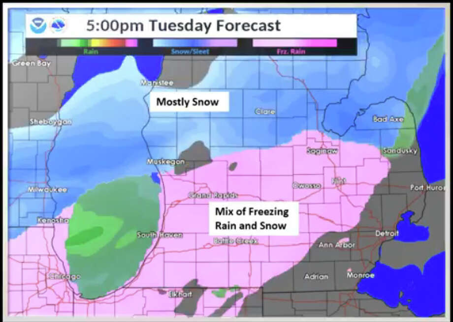 Plan on slick conditions and a slower than average commute time later this afternoon and evening. Photo: National Weather Service Detroit