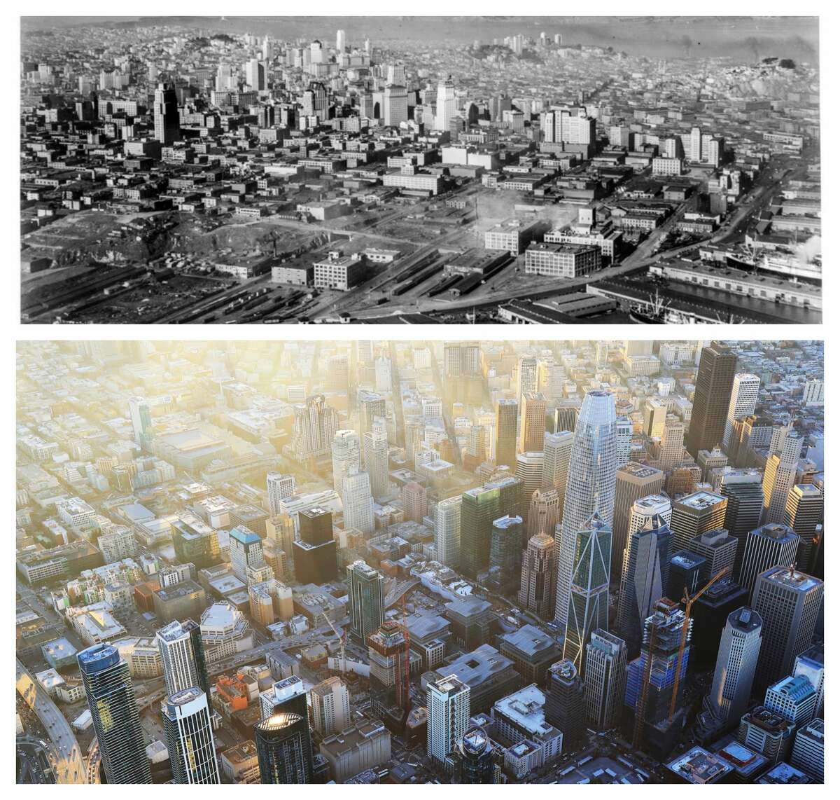 South of Market: Before and after: A neighborhood transformed Top: South of Market Aerial Feb 13, 1930 Looking Northwest over Rincon Hill to skyline, Marin Headlands [Air Corps U.S. Army] Bottom: An aerial view of the South of Market, or SoMa, district, including the Salesforce Tower, the tallest building in the right half of the photo, in San Francisco, Feb. 8, 2018. After decades of public hostility toward skyscrapers, the city has been advocating a more dense and more vertical downtown. The city now has 160 buildings taller than 240 feet and a dozen more are planned or under construction.