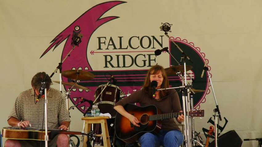 Tracy Grammer with Jim Henry on the Falcon Ridge Folk Festival mainstage in 2009. (Ken Ingram)