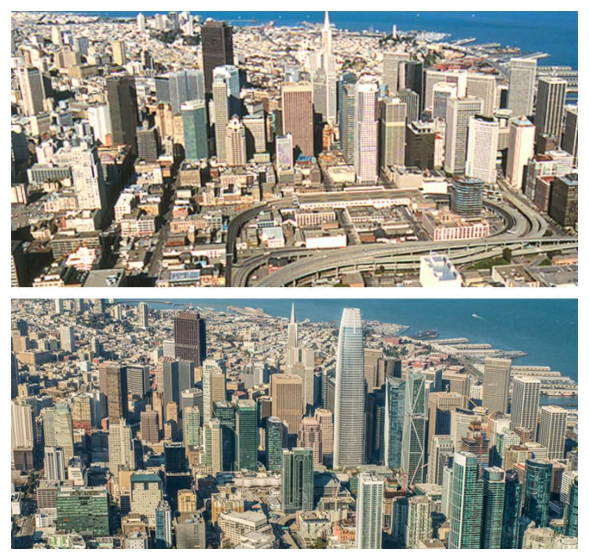 San Francisco skyline: Before and after: 1980s vs. 2017 Much has changed in the last 30 years. Here we compare an aerial photograph from the mid-1980s to one taken Dec. 12, 2017.