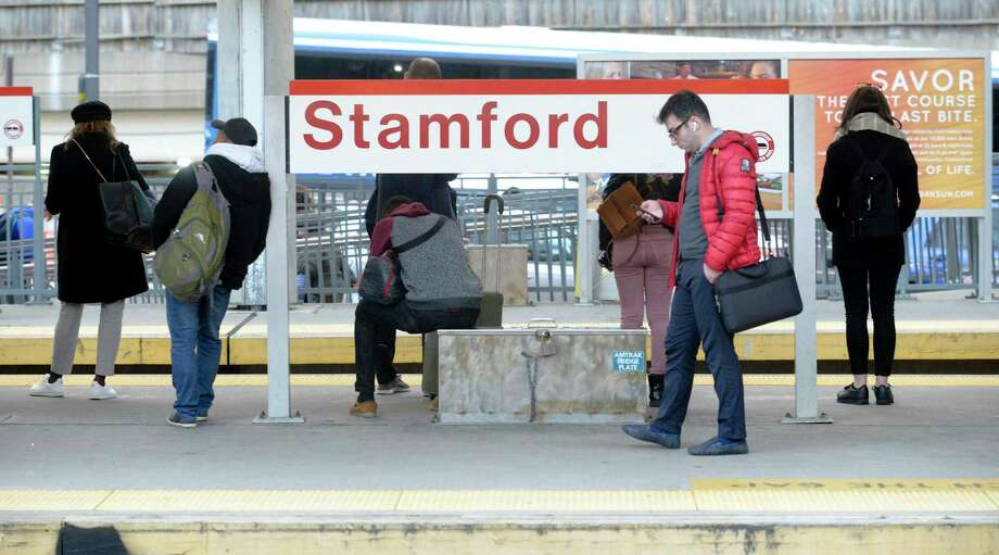The 8:35 a.m. train from Grand Central Terminal to Stamford is operating 10 to 15 minutes behind schedule. Photo: Matthew Brown / Hearst Connecticut Media / Stamford Advocate