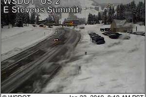 Traction tires were required over Stevens Pass Tuesday morning. Check  this link  for current conditions.