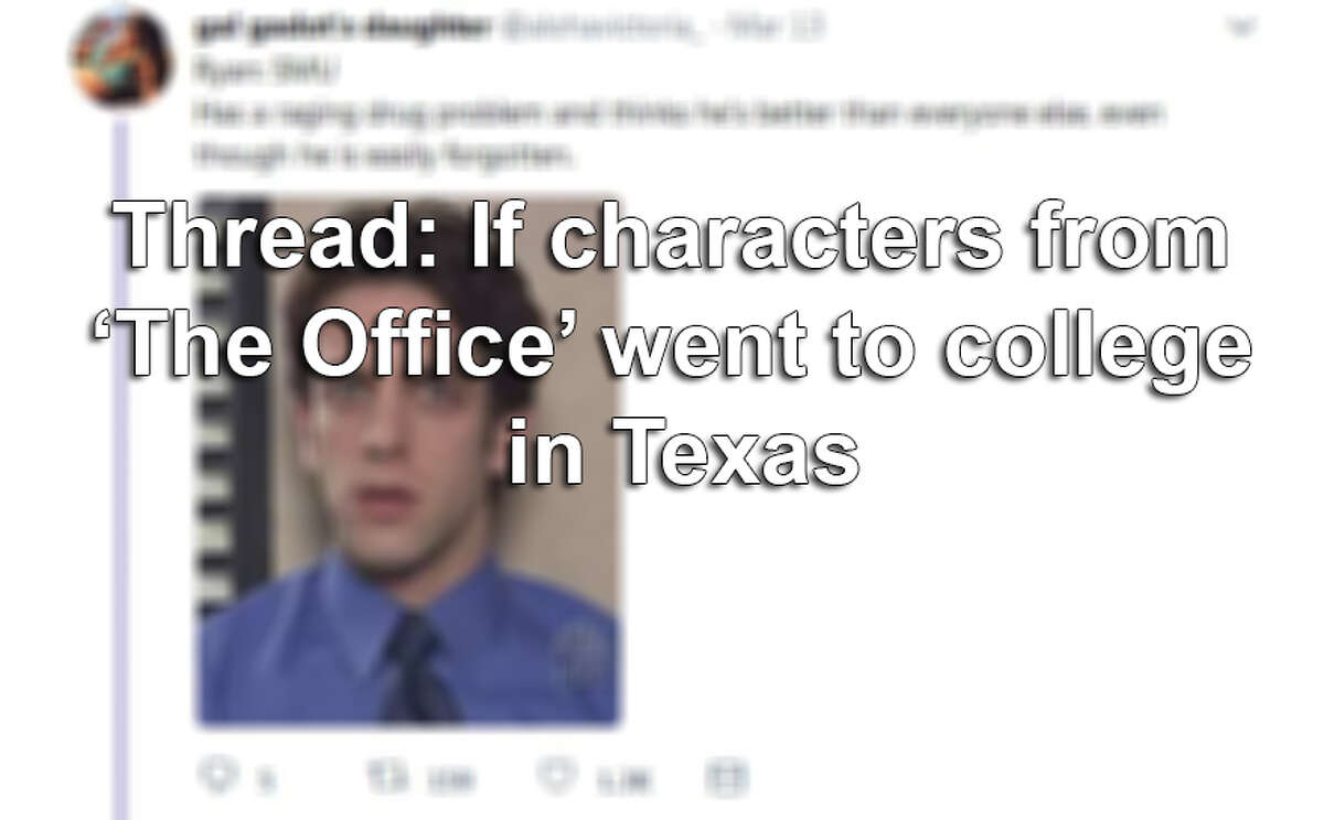 Where would Michael Scott, Jim Halpert, Pam Beesly and other 'The Office' characters gone to college if they'd lived in Texas? Click through the slideshow to find out.