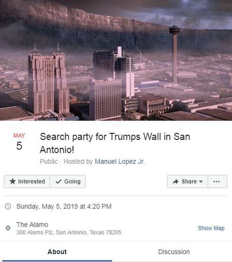 Thousands of people have expressed interest in a search party to find a border wall in San Antonio. Photo: Screenshot/Facebook