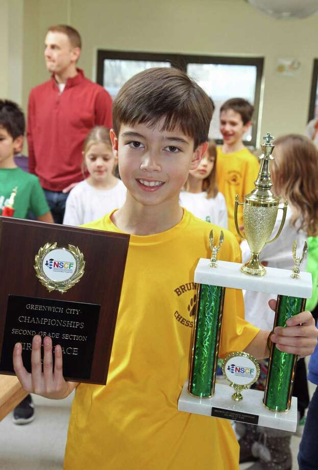 Colin Dean, a student at Brunswick school, was the Greenwich City 2nd Grade Chess Champion in 2018. This year's competition will be held Sunday, January 27, hosted by Greenwich Academy. Registration is open to all K-12 students. Visit NSCFchess.org for details. Photo: Polly Wright /