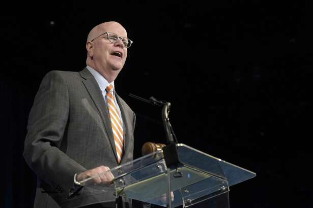 Kevin Lembo during his acceptance speech for his nomination for State Comptroller at the 2018 Connecticut Democratic State Convention, on Saturday , May 19, 2018, in Hartford, Conn.