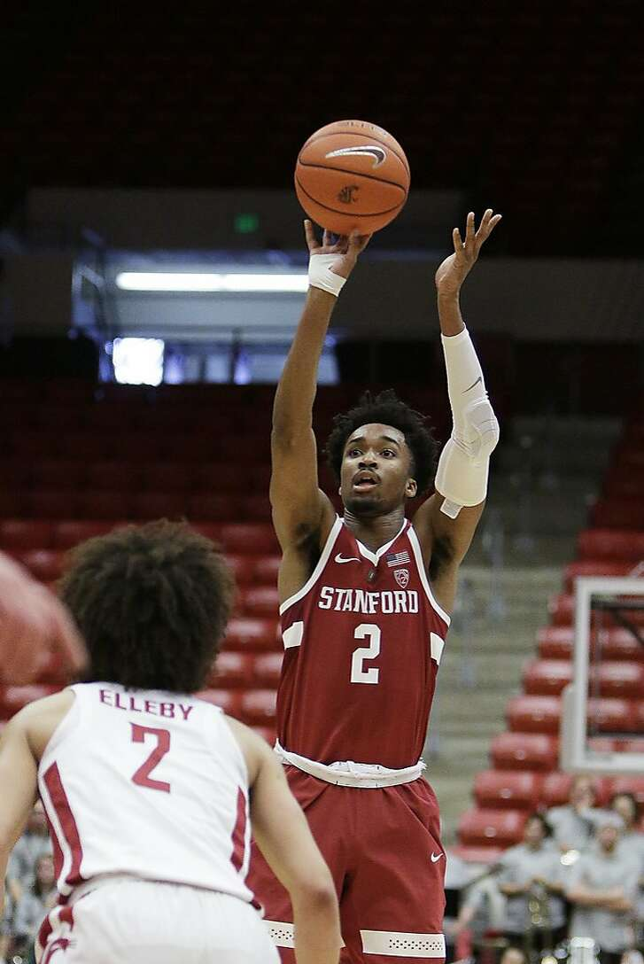 Stanford guard Bryce Wills (2) shoots during the first half of an NCAA college basketball game against Washington State in Pullman, Wash., Saturday, Jan. 19, 2019. (AP Photo/Young Kwak)