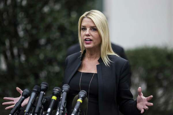 Pam Bondi, shown at the White House in February 2018, was an early supporter of Donald Trump's 2016 presidential campaign.