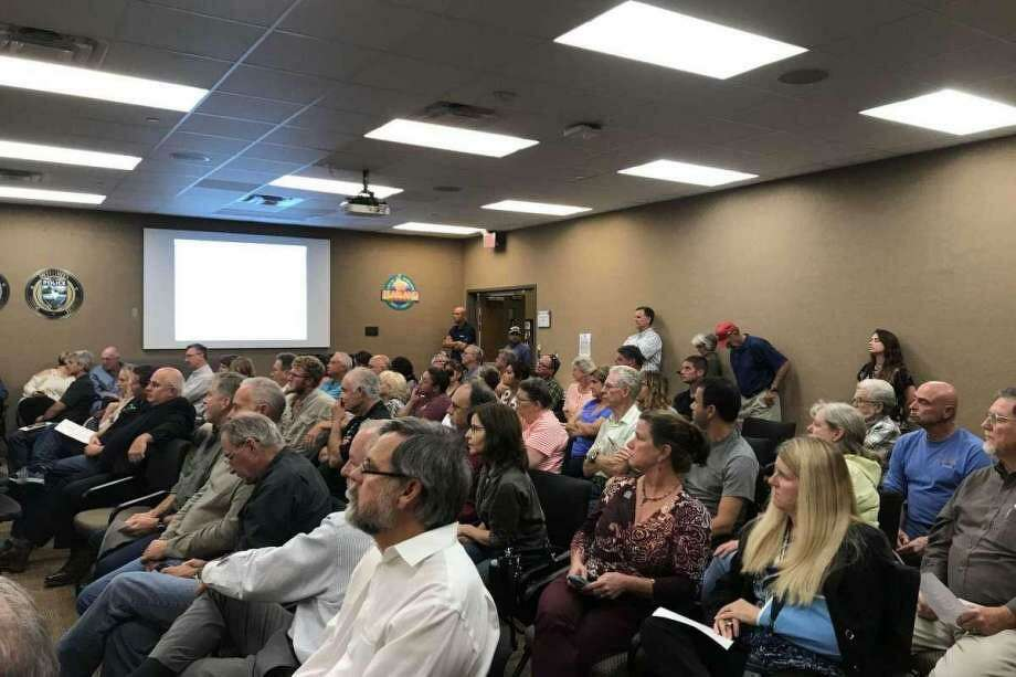 Residents of two areas that were annexed and then deannexed by the city of Pearland attend a city meeting in 2018. Now that voters in the areas have approved two emergency services districts, board members for those entities are doing the groundwork to determine which emergency service providers to hire and to eventually determine a property tax rate.