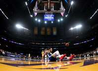LOS ANGELES, CALIFORNIA - JANUARY 21:  Stephen Curry #30 of the Golden State Warriors slips and falls on a breakaway during a 130-111 win over the Los Angeles Lakers at Staples Center on January 21, 2019 in Los Angeles, California.  NOTE TO USER: User expressly acknowledges and agrees that, by downloading and or using this photograph, User is consenting to the terms and conditions of the Getty Images License Agreement. (Photo by Harry How/Getty Images)