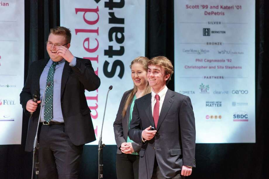 """Kevin Gallagher, Prep class of 2017,(right) during the Fairfield University """"Start Up"""" competition in 2017, where he won $11,500 to fund his """"Trees of Life"""" concept to bring clean drinking water to people in need through a desalination system using mangrove trees. Gallagher attends Yale University. Photo: Contributed"""