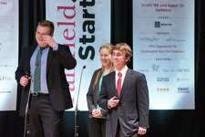"""Kevin Gallagher, Prep class of 2017,(right) during the Fairfield University """"Start Up"""" competition in 2017, where he won $11,500 to fund his """"Trees of Life"""" concept to bring clean drinking water to people in need through a desalination system using mangrove trees. Gallagher attends Yale University."""