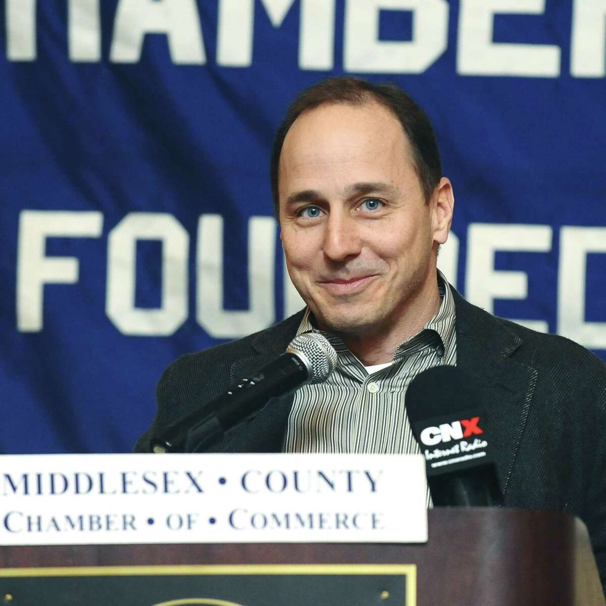 New York Yankees General Manager Brian Cashman addresses the Middlesex Chamber of Commerce monthly breakfast. He will participate in a candid discussion over breakfast at a Darien home on Feb. 8 to benefit Greenwich-based Family Centers.