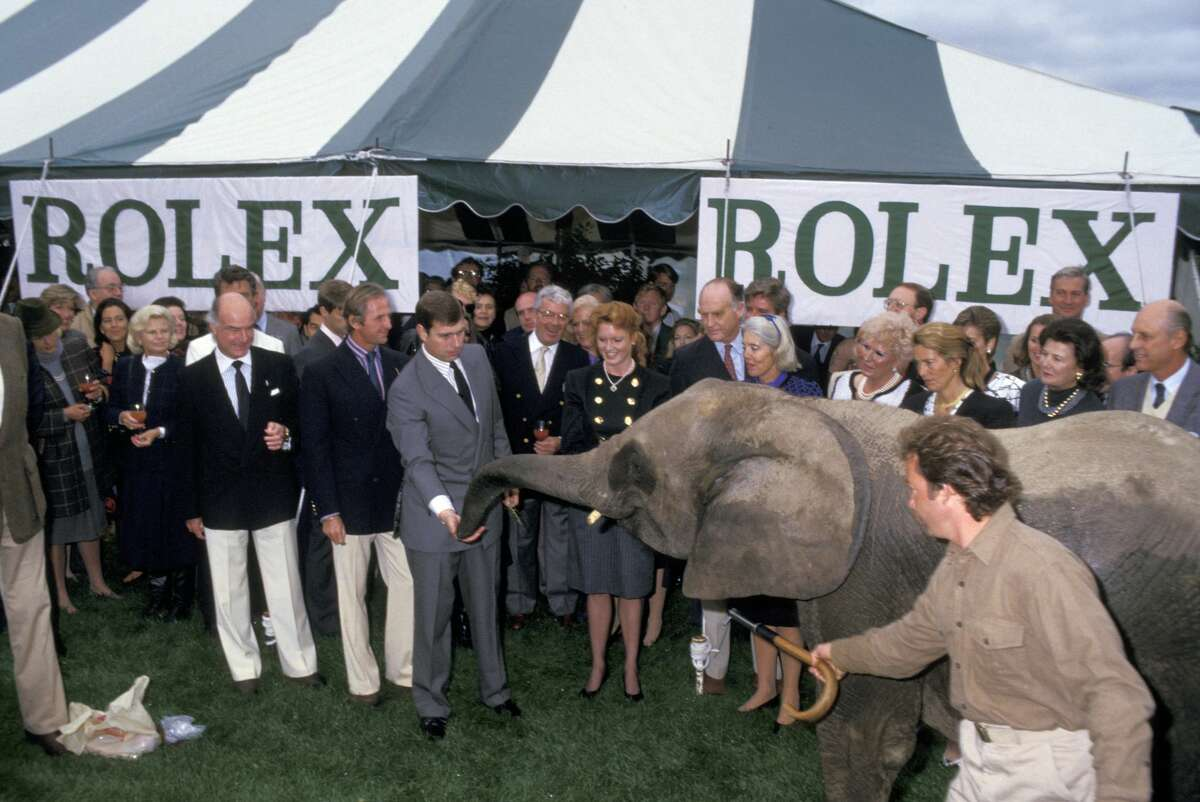 Prince Andrew and Sarah Ferguson during Wildlife Demo Benefit For The World Wildlife Fund at Greenwich Polo Club in Greenwich, Conneticut, United States.
