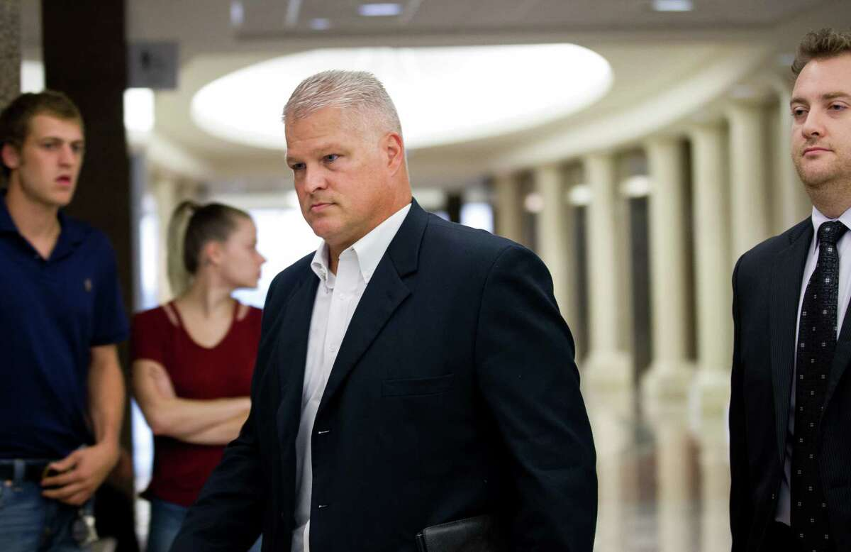 David Temple arrives for a hearing at the 178th District Court Tuesday, Oct. 10, 2017, in Houston. The former Alief Hastings High School football coach spent almost a decade in prison after being convicted of killing his wife but his conviction was reversed last year. He is awaiting retrial in Harris County. >>>See a timeline of the David Temple case ...