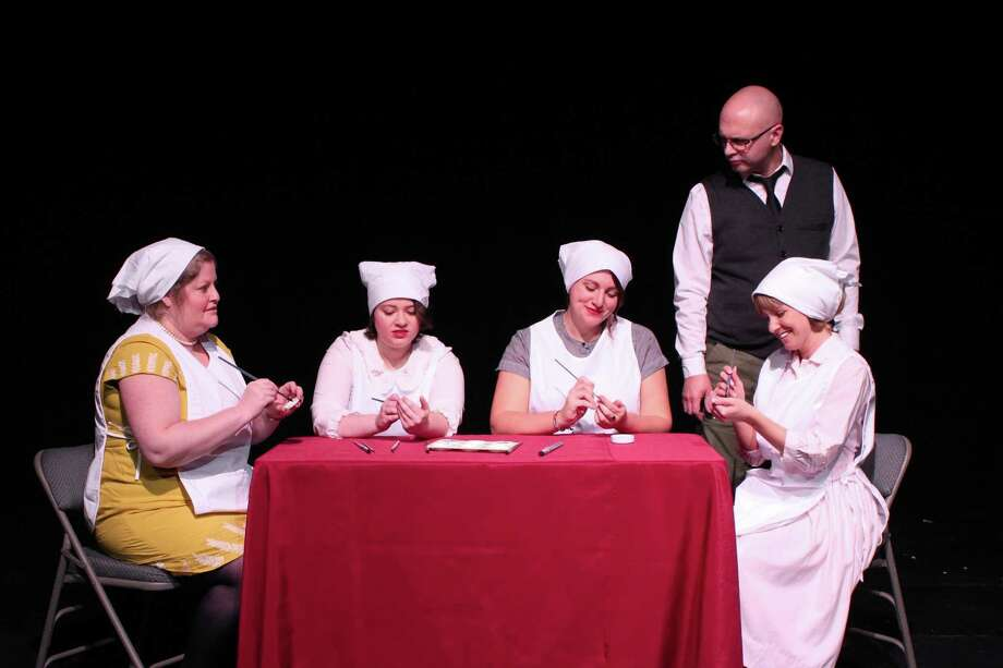 "From left, Alecia Coffin of Milford, Amanda Brenner of Shelton, Shannon Riccio of Milford, Geoffrey Gilbert of Stratford and Katie DePonte of New Haven in ""Shining Lives."" Photo: Danielle Boyke / Eastbound Theatre"