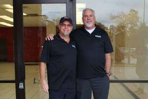 Ken Grey, left, and Tim Bauer are the owners of the SwimLabs Swim School in The Woodlands that opened toward the end of last summer.