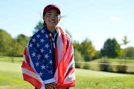 PARIS, FRANCE - SEPTEMBER 25:  Lucy Li of Team USA poses during the singles on day two of the 2018 Junior Ryder Cup at Disneyland Paris on September 25, 2018 in Paris, France.  ~~