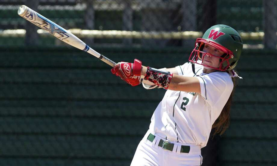 Abby Jones (2) of The Woodlands connects for a 2-run single during the first inning of a Region II-6A bi-district playoff series, Saturday, April 28, 2018, in The Woodlands. Photo: Jason Fochtman, Staff Photographer / Houston Chronicle / © 2018 Houston Chronicle