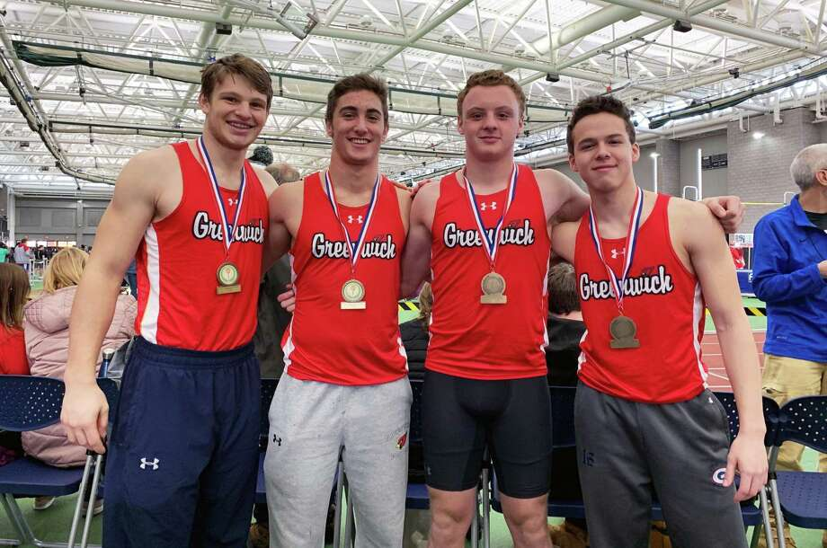 Greenwich's 4x200 relay team registered a first-place finish at the SCC Invitational recently at Hillhouse High School in New Haven. Photo: Contributed Photo / Contributed Photo / Greenwich Time Contributed