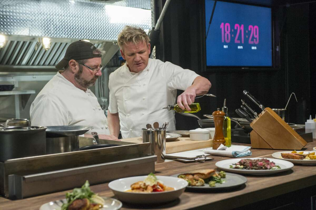 Chef Peter Hamme, left, of Stone's Throw in Seymour, and host Gordon Ramsay, right, filming an episode of 24 Hours to Hell and Back.