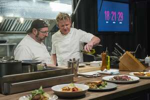 Chef Peter Hamme, left, of Stone's Throw in Seymour, and host Gordon Ramsay, right, filming an episode of 24 Hours to Hell and Back  airing Wednesday, Jan. 30 (8:00-9:00 PM ET/PT) on FOX.