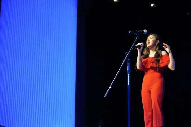 """Sarah Garza of Atascocita High School's rendition of """"They Just Keep Moving The Line"""" from the musical series """"Smash"""" earns her a spot to perform at the upcoming Humble Rodeo & BBQ Cook-Off in February."""