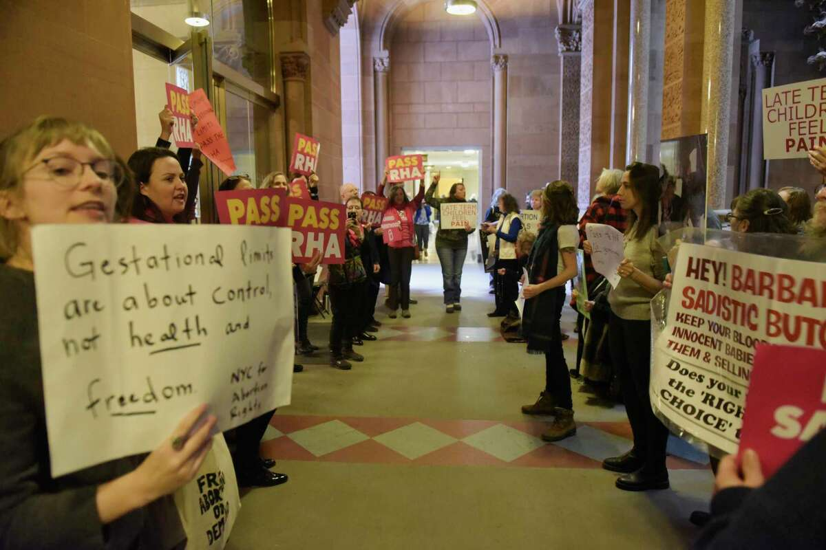Those in support of Reproductive Health Act and those who oppose it protest in the hallway outside the New York State Senate on Tuesday, Jan. 22, 2019, in Albany, N.Y. (Paul Buckowski/Times Union)