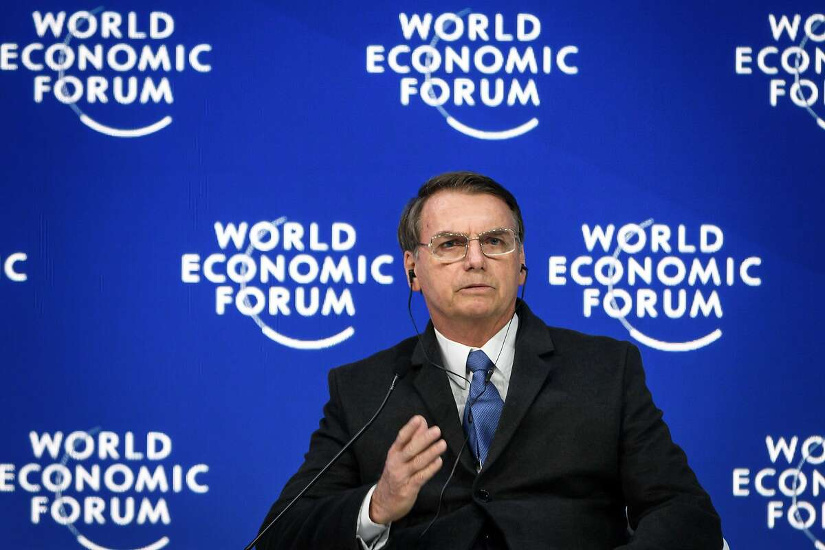 Brazilian President Jair Bolsonaro gestures as he delivers a speech during the World Economic Forum (WEF) annual meeting on January 22, 2019 in Davos, eastern Switzerland. (Photo by Fabrice COFFRINI / AFP)FABRICE COFFRINI/AFP/Getty Images