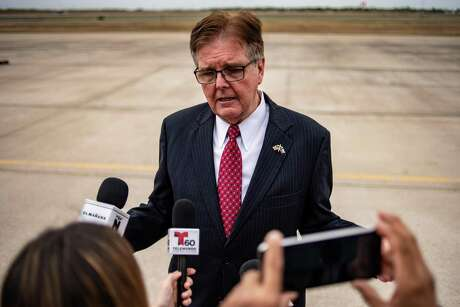Lt. Gov. Dan Patrick speaks to reporters in McAllen in January 2019. Photographer: Sergio Flores/Bloomberg