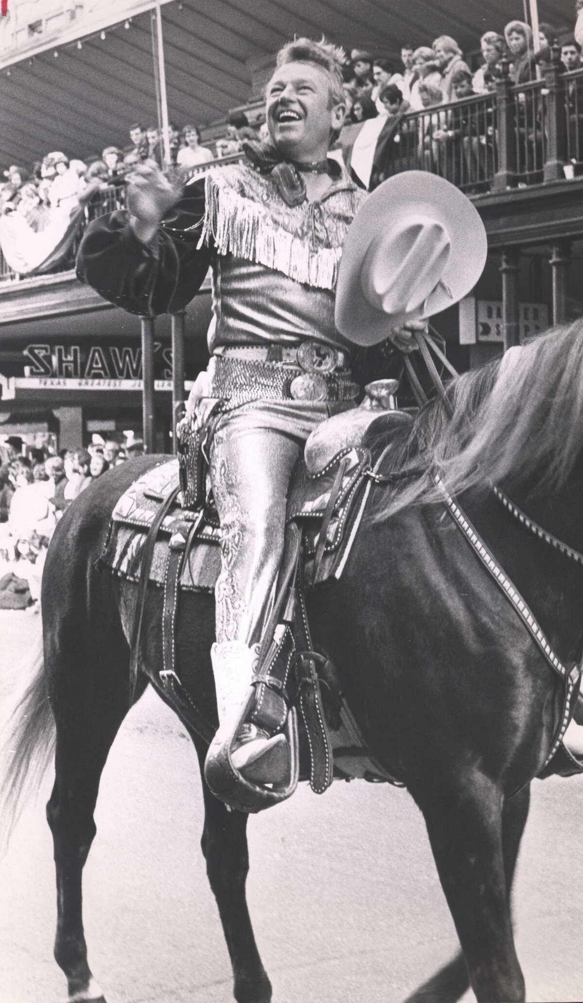 Singing cowboy Rex Allen in San Antonio for the Rodeo in 1968.