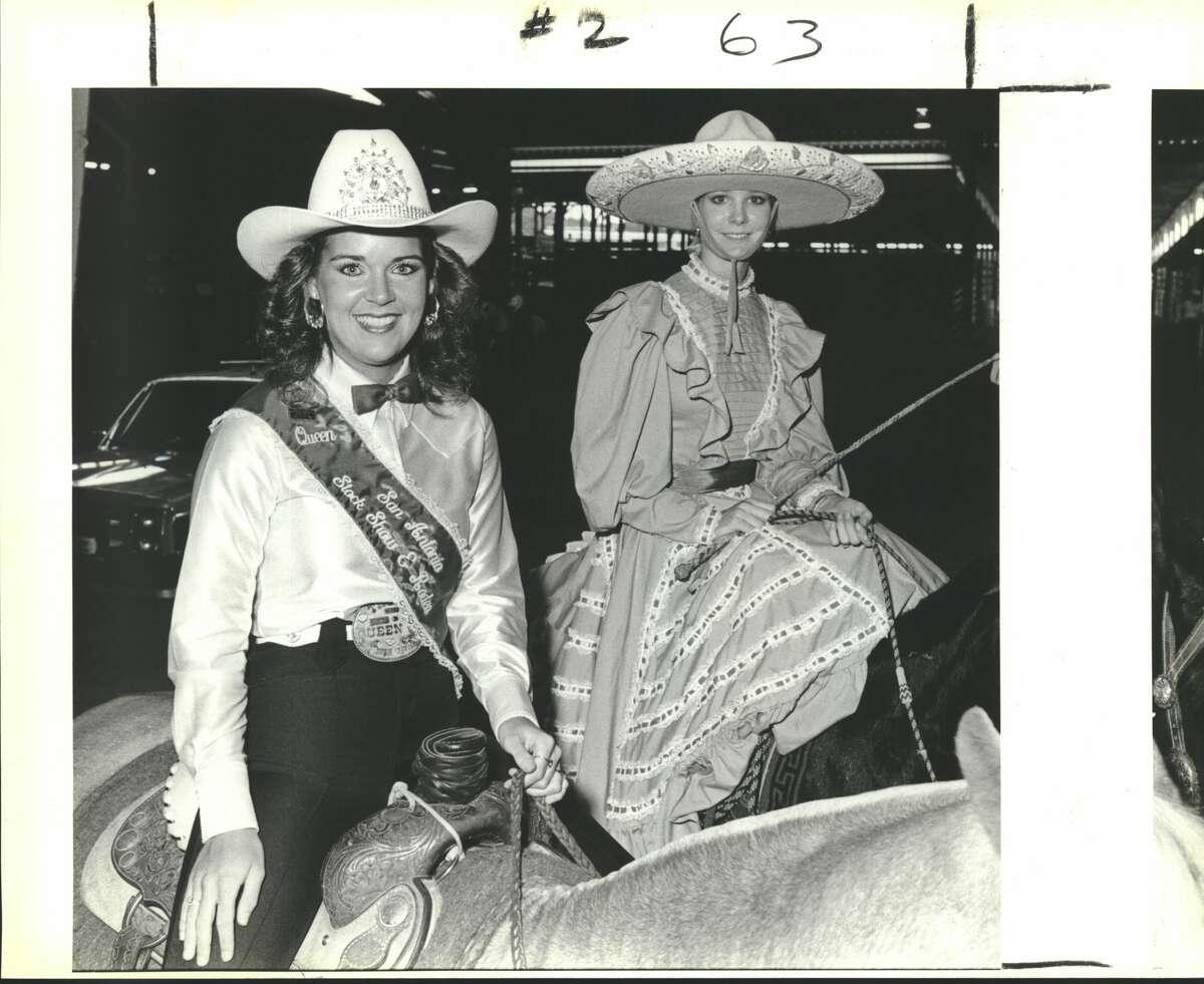 San Antonio Rose Palace Fall Festval: Traci Davis, San Antonio Stock Show and Rodeo Queen, and Marinela Martinez, San Antonio Charro Association Queen.