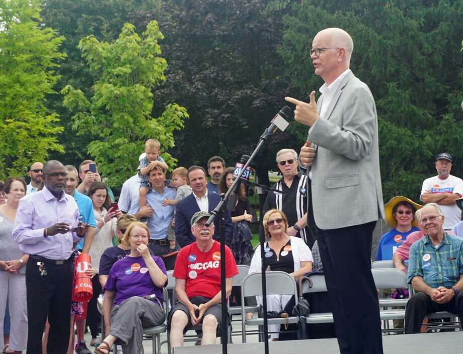 State Comptroller Kevin Lembo spoke at a unity rally for Democrats in Minuteman Park in Hartford, Conn. on Saturday August 18, 2018. Photo: Emilie Munson / Hearst Connecticut Media / Connecticut Post