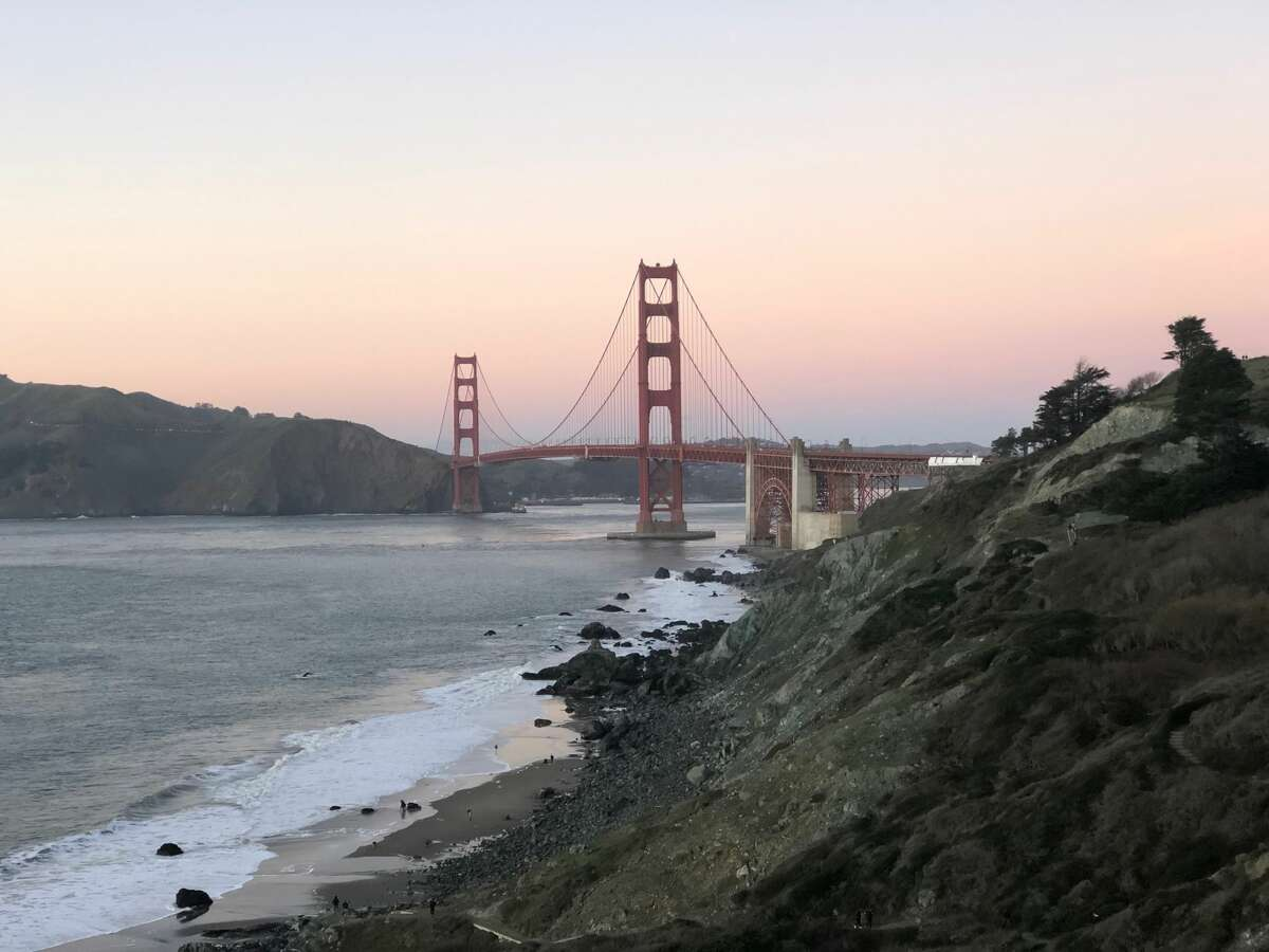 San Francisco's Golden Gate Bridge on a clear, cool evening after sunset on Jan. 22, 2019.