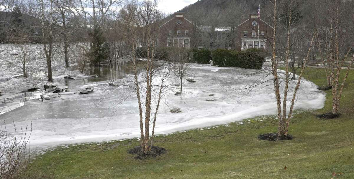 The ice jam on the Housatonic River has pushed water and ice onto the Kent School campus in Kent, Conn, on Wednesday, January 24, 2018.