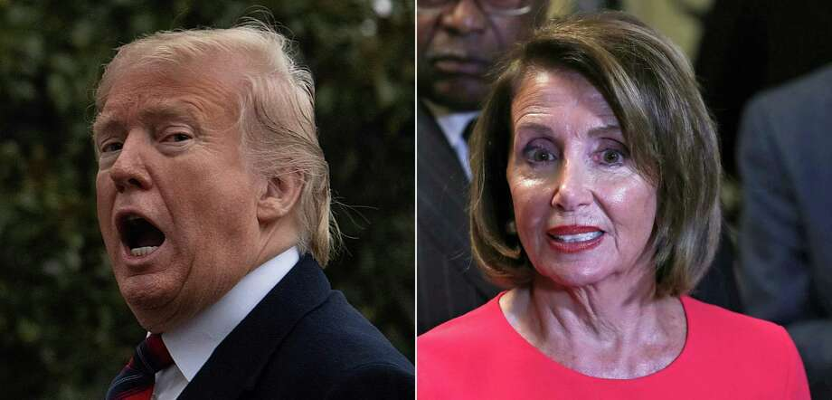 President Donald Trump is seriously misplaying his hand in his continuing battle over the border wall with House Speaker Nancy Pelosi, right. She is winning. Photo: JIM WATSON /AFP /Getty Images / AFP