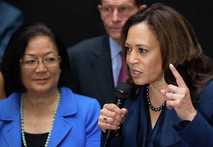 Sen. Kamala Harris, right, Democrat from California and Sen. Mazie Hirono, left, Democrat from Hawaii — along with Sen. Dianne Feinstein, Democrat of California (not shown) — have demonstrated anti-Catholic bias in their questioning of judicial nominees.