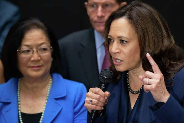 Sen. Kamala Harris, right, Democrat from California and Sen. Mazie Hirono, left, Democrat from Hawaii - along with Sen. Dianne Feinstein, Democrat of California (not shown) - have demonstrated anti-Catholic bias in their questioning of judicial nominees.