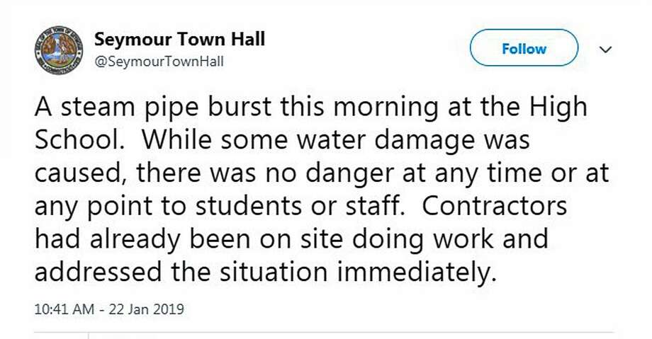 A screenshot of a tweet on Jan. 22, 2019, about a pipe burst at Seymour High School in Seymour, Conn. Photo: Contributed Photo / Contributed Photo / Connecticut Post Contributed