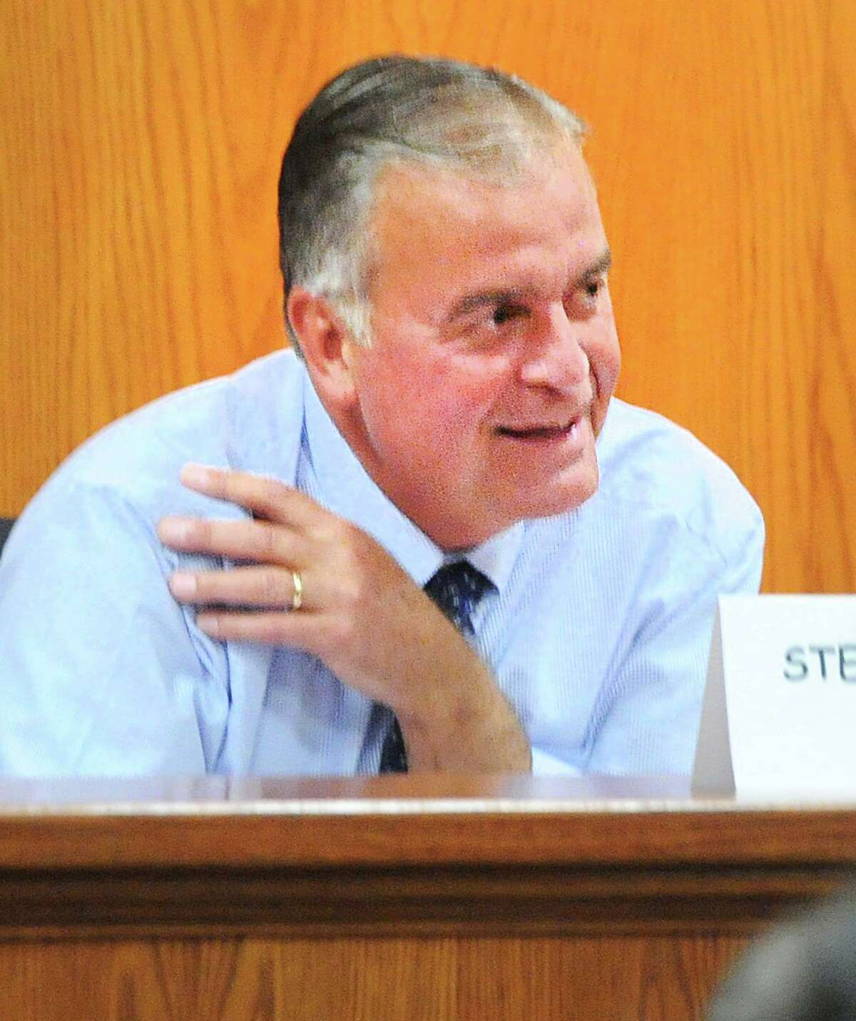Stephen Meskers the Democratic candidate for the State Representative 150 District seat during the League of Women Voters of Greenwich State Representatives Debate for the 150th and 151st District at Greenwich Town Hall, Conn., Wednesday, Oct. 10, 2018. Meskers debated incumbent State Representative Michael Bocchino (R-150).