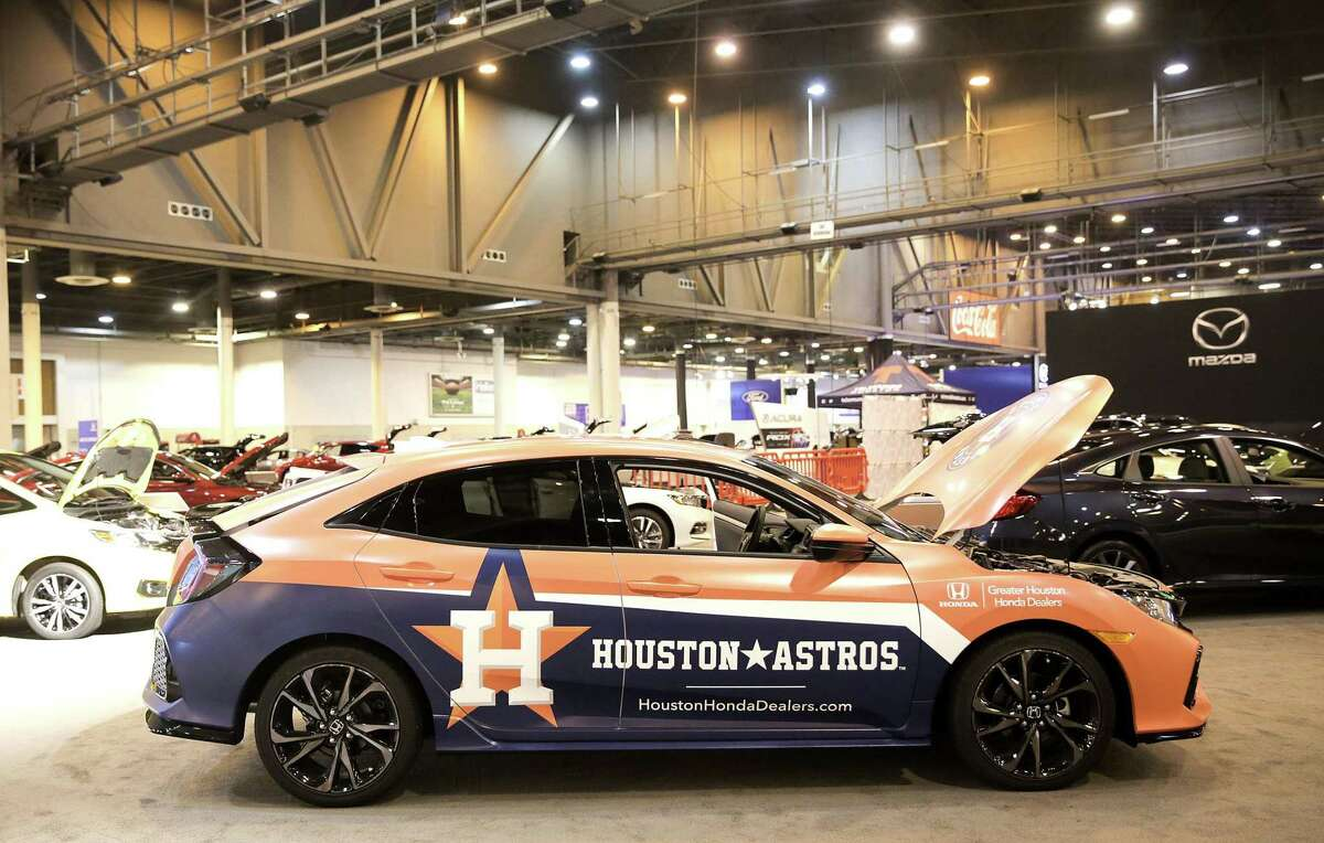 A wrapped Honda Clarity Electric supporting the Houston Astros on display at the Houston Auto Show's Honda area at NRG Center on Tuesday, January 22, 2019.