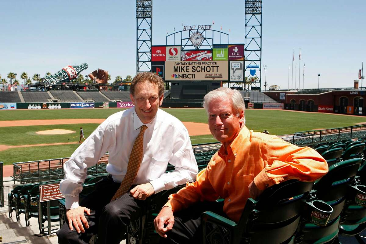 Peter Magowan, right, President of the San Francisco Giants, poses with Larry Baer at AT&T Park after announcing he is stepping down from that position in 2008.