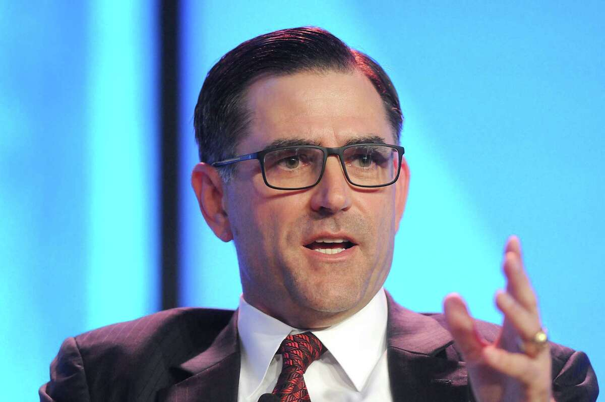 Halliburton CEO Jeff Miller. Miller and other executives with the Houston oilfield service giant are taking pay cuts amid layoffs and cuts to employee benefits. Record low oil prices continue to take their toll on the oil and natural gas industry.